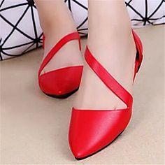 Chaussures Femme - Décontracté - Noir / Rouge / Blanc - Talon Plat - Bout Pointu - Plates - Similicuir