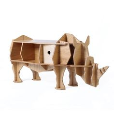 3D self-build puzzle rhino coffee table with organizer
