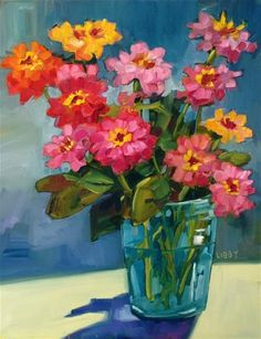 "Daily Paintworks - ""Aqua Vase"" - Original Fine Art for Sale - © Libby Anderson"