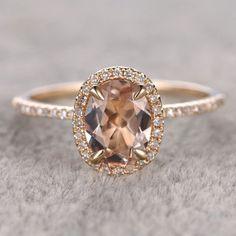 7x9mm Morganite Engagement ring Yellow gold,Diamond wedding b… More