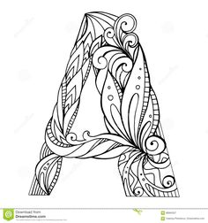Illustration about Black and white freehand drawing capital letter A with floral doodle pattern. Vector element for your design. Illustration of filigree, label, decoration - 86664357 Doodle Alphabet, Doodle Art Letters, Drawing Letters, Letter Art, Cute Coloring Pages, Adult Coloring Pages, Coloring Books, Zentangle, Coloring Letters