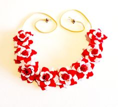 White and Red Rose Bud Flower Crown/Headband/Coachella/Festivals/Parties $12