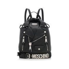 Pre-Owned Moschino Nappa Leather Jacket Lapels Backpack ($1,100) ❤ liked on Polyvore featuring bags, backpacks, black, moschino, pre owned bags, rucksack bags, preowned bags and knapsack bag