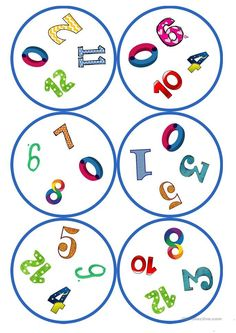 Games in German lessons: Dobble - numbers cards / 4 symbols) - - Montessori Activities, Kindergarten Activities, Activities For Kids, Diy Game, English Activities, Paper Gift Box, Classroom Fun, Math For Kids, Activity Games