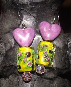 Purple and Yellow Heart Earrings by reddirtroseokc on Etsy