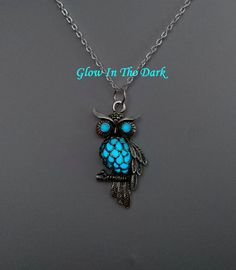 Aqua Glow in the Dark Owl Necklace - Owl Pendant - Bird Jewelry - Bird Necklace - Birthday Gift - Gifts For Her - Teen Gift by BespokeInnaDesign on Etsy