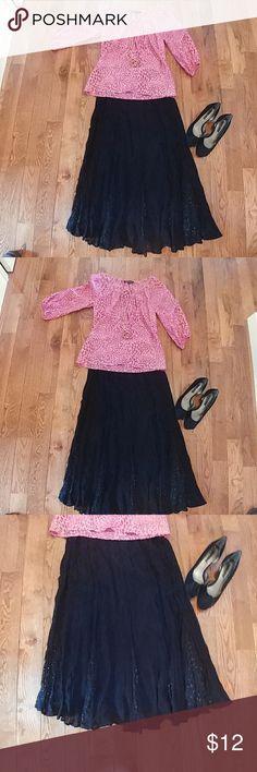 Rouge Black Boho Maxi Skirt Black Maxi Skirt -  Crinkly Material -Very Boho Vibe 100% Rayon Skirts Maxi