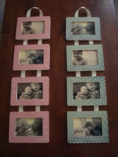 Hanging picture frames - under 5.00 to make (1.00 frames from Michaels/JoAnn's/HobbyLobby, scrapbook paper, ribbon, and pictures)