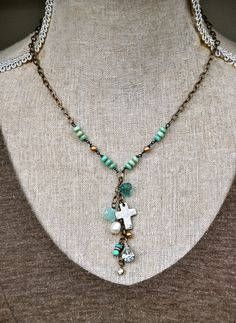 boho, glass beaded, charm necklace. Tiedupmemories