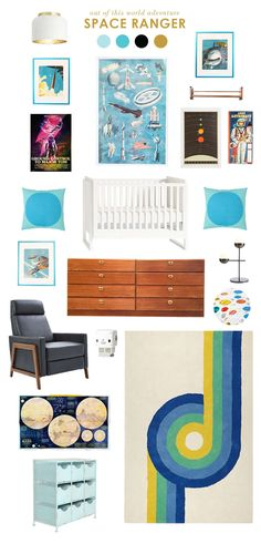 For the little space explorers - each item here would be perfect for a little astronauts room. I think this theme could continue on to the toddler age and all that changes is the bed. I am sure there are some awesome space printed duvet covers that would work perfectly in this room.
