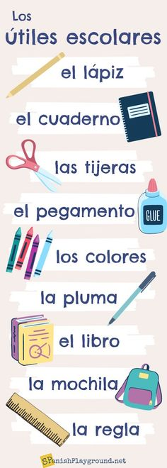 School Supplies in Spanish: 6 Activities for Kids - Spanish Playground School supplies in Spanish are important vocabulary for kids. Six fun activities teach school supplies with a song, mini-book, picture search and more. Spanish Help, Spanish Lessons For Kids, Learning Spanish For Kids, Spanish Lesson Plans, Spanish Words, Spanish Activities, How To Speak Spanish, Teaching Spanish, Learning Italian