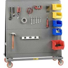 Great idea for rolling hammer and tool storage - love the idea of the bins for small parts too!