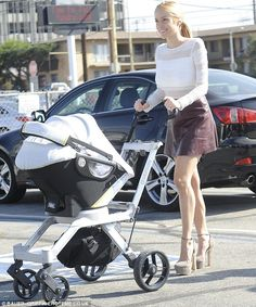 New mother: Kristen Cavallari was potted out in Los Angeles with her son on Friday...in heels?!!!
