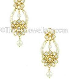 Buy Round Shape Polki Earrings in Pearl danglers-drop online