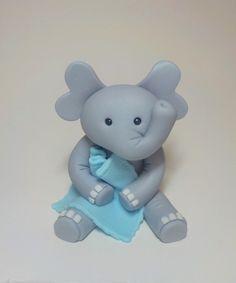 Fondant Elephant Cake Topper with Blanket  1st Birthday Baby Shower Lt. Blue or Pink