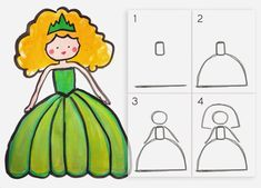 Learn to draw a princess in 4 easy steps DIY Mom Art Drawings For Kids, Doodle Drawings, Drawing For Kids, Easy Drawings, Doodle Art, Art For Kids, Hipster Drawings, Pencil Drawings, Drawing Projects