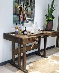 reclaimed work bench bar and art by Sherry Karver