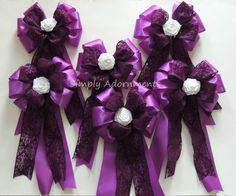 Purple Damask wedding pew bow, Bow for Aisle decoration