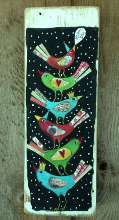 Happy Day Birds Folk Art on Reclaimed Wood by evesjulia12 on Etsy, $58.00