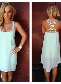 The simplicity of this dress and beautiful back makes it easy to dress up or down! #mint #dresses #summerstyle