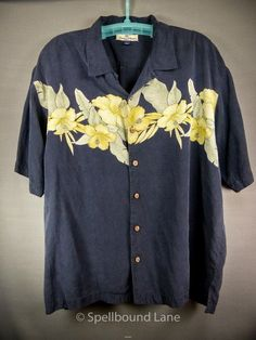 Tommy Bahama Mens Shirt 100% Silk Hibiscus Pattern Floral Black Yellow XL #TommyBahama #Hawaiian