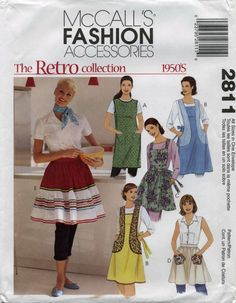 Retro Vintage Apron Sewing Pattern | McCall's 2811 | Year 2000 | All Sizes Bust 31½-44 | Waist 24-37 | Hip 33½-46 apron retro, mccall 2811, apron sew, mccall sew, sew pattern, retro mccall, apron inspir, pattern factori, sewing patterns