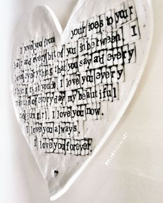 Words in Porcelain Words your way! Heart shaped 'Words in Porcelain' is becoming a popular variety of my work, so if you would like your words captivated forever in someone's heart, then just let me know ♥ Irish Design, Like You, My Love, Your Word, China Porcelain, Heart Shapes, How To Become, Art Pieces, Clay
