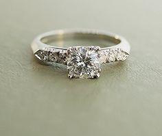 Vintage Platinum Diamond Engagement Ring