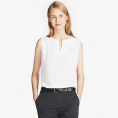 240b5f7294 WOMEN RAYON KEY-NECK SLEEVELESS BLOUSE. Blouse OutfitBra TopsSleeveless  BlouseUniqloStylish ...