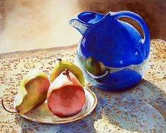 Chris Beck Blue Pitcher and Pears on Lace