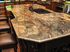 fusion quartzite countertops | Fusion Granite Countertops w/ Single Ogee Edging: