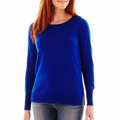 a.n.a® Crewneck Pullover Sweater in Exotic Blue (aka TARDIS blue) - jcpenney