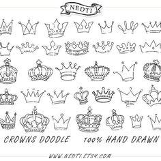 Crowns Doodle Hand Drawn Vector Prince Crown Digital por Nedti
