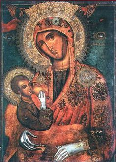 """On July the Icon of the Virgin """"Galaktotrophousa"""" (Γαλακτοτροφουσα, meaning """"the Milk-Giver"""") is celebrated. The Icon shows the Mother of God breast-feeding Christ. Byzantine Icons, Byzantine Art, Religious Icons, Religious Art, Catholic Art, Monastery Icons, Russian Icons, Blessed Mother Mary, Madonna And Child"""