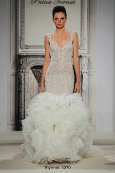 Beaded wedding dress with ruffle skirt