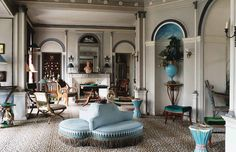 French antique dealer and interior designer Madeleine Castaing's manor in Lèves, France. It was in this magnificent Directoire style mansion set in a park, a gift from her mother-in-law,. English Antique Furniture, Antique Decor, Vintage Decor, Style Français, French Style, Modern Victorian, Victorian Interiors, French Interiors, French Architecture