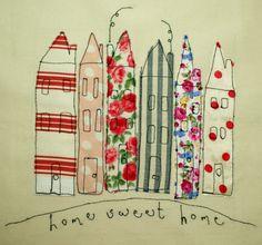 Leah Fletcher applique fabric houses