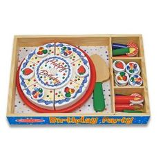 """Every day's a celebration, with our festive birthday party! Thirty-four pieces in this wooden set from Melissa and Doug include six ready-to-cut slices of cake, removable candles and toppings, sturdy serving tray and a spatula that store neatly in a wooden box. Cake makes slicing sounds when cut!   Dimensions: 1.8"""" x 13"""" x 9"""" Packaged.     Recommended Ages: 3+ years old. $16.78"""