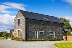 New Build In County Armagh Stone Exterior Houses, Bungalow Exterior, Bungalow House Design, Modern Bungalow, Modern Farmhouse Exterior, House Layout Plans, House Plans, House Designs Ireland, Self Build Houses