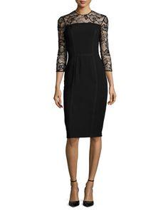 3/4-Sleeve Lace-Trim Cocktail Dress, Black by Carmen Marc Valvo at Neiman Marcus.