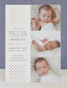 Share the news of your special arrival with a real foil pressed birth announcement from Minted. Hand-pressed with gold and silver foil, all designs are printed on luxe paper.