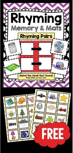 Rhyming game - FREE - Print and use for kindergarten or preschool literacy center Kindergarten Literacy, Early Literacy, Literacy Centers, Literacy Stations, Reading Centers, Writing Centers, Rhyming Activities, Work Activities, Rhyming Words