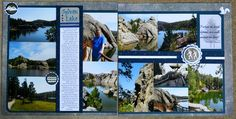 This is a double page LO of the trip my DH and I took to South Dakota in These are specifically photos of the Sylvan Lake area in Custer State Park. Wedding Scrapbook Pages, Travel Scrapbook, Scrapbook Cards, Scrapbook Layout Sketches, Scrapbook Designs, Scrapbooking Layouts, Sylvan Lake, Custer State Park, My Road Trip