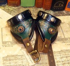 Steampunk goggles Royal Heritage in green: by dreameddesign~48.00, via Etsy.