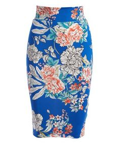Look what I found on #zulily! Royal Blue & Pink Floral Pencil Skirt - Women #zulilyfinds