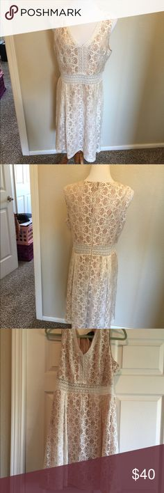 "Jessca Simpson Dress Cream Lace 14 Simply elegant natural under lace overlay  Size 14 Excellent clean condition  Bust 40"" Waist 32"" Length 35"" Jessica Simpson Dresses Midi"