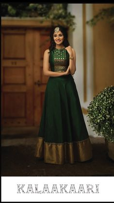South Indian Gown : Auspicious Green Butti Stitched Gown - Her Crochet Lehenga Designs, Kurta Designs, Kurti Designs Party Wear, Lehenga Gown, Anarkali Dress, Indian Designer Outfits, Designer Dresses, Style Marocain, Long Gown Dress