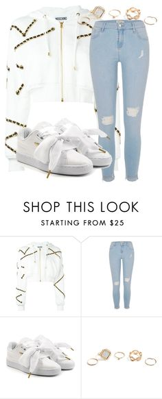"""Untitled #1513"" by mfr-mtz ❤ liked on Polyvore featuring Moschino, River Island, Puma and GUESS"