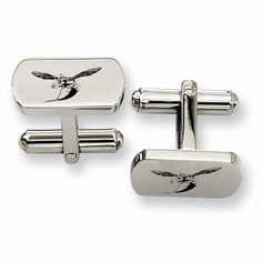 Natural Finish Sterling Silver Round Top Cufflinks College Jewelry University of Delaware Blue Hens Cufflinks
