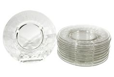 1920s Etched Glass Luncheon Plates, S/12